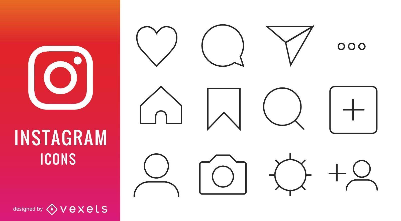 Sammlung von Instagram-Symbolen