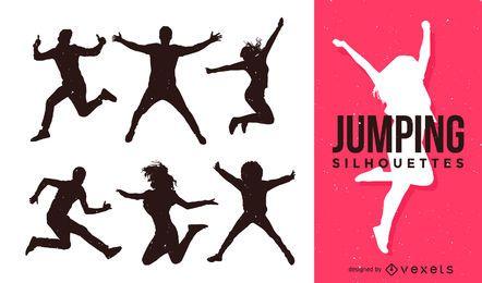 Conjunto de silhuetas de pessoas pulando