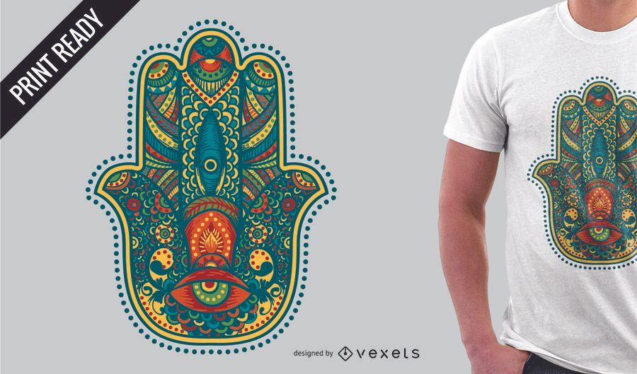 Colorido diseño de camiseta hamsa.