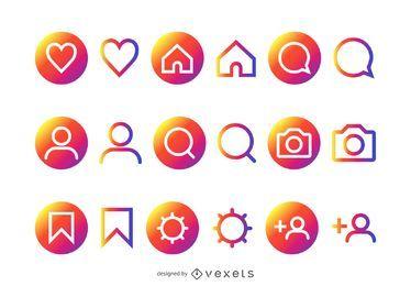 Coleção colorida de ícones Instagram colorido