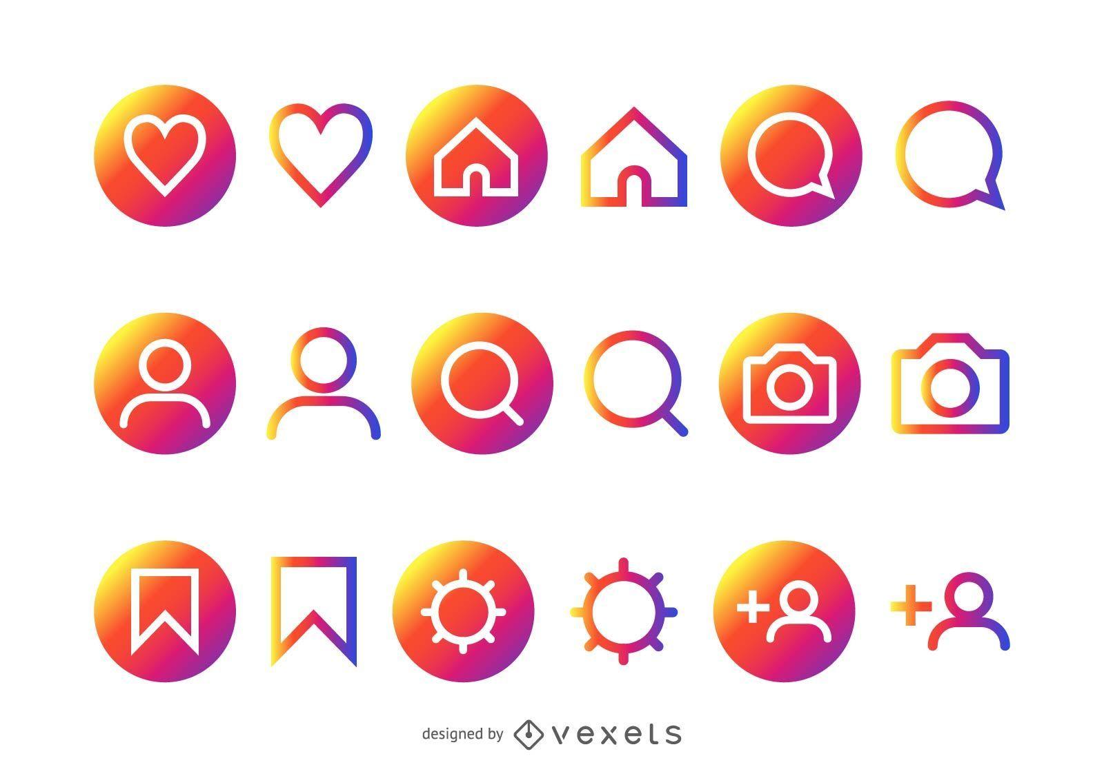 Colección colorida de iconos de Instagram