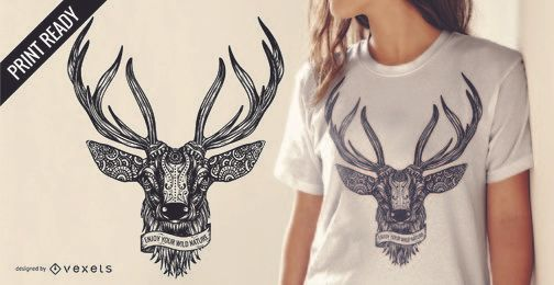 Deer illustration t-shirt design with text