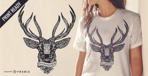Diseño de camiseta de ilustración de ciervo con texto