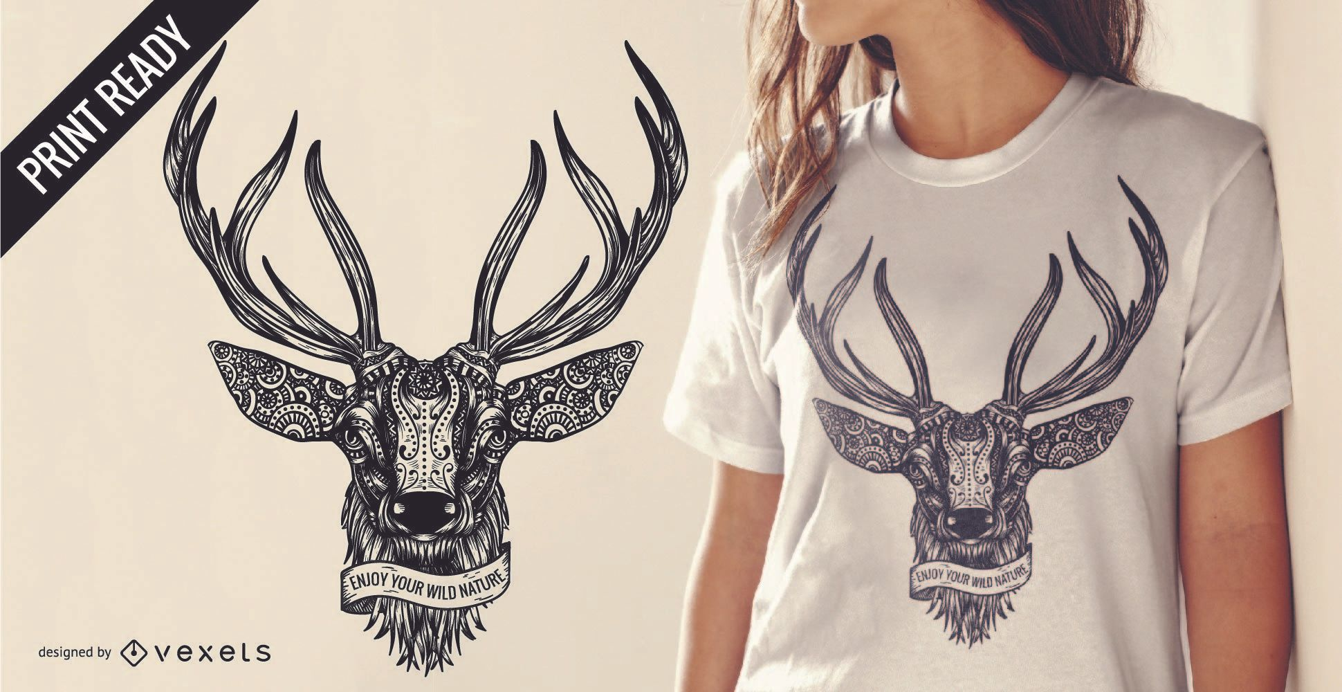 Desenho de t-shirt com ilustração de cervos com texto