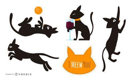 Conjunto de gatos pretos ilustrados