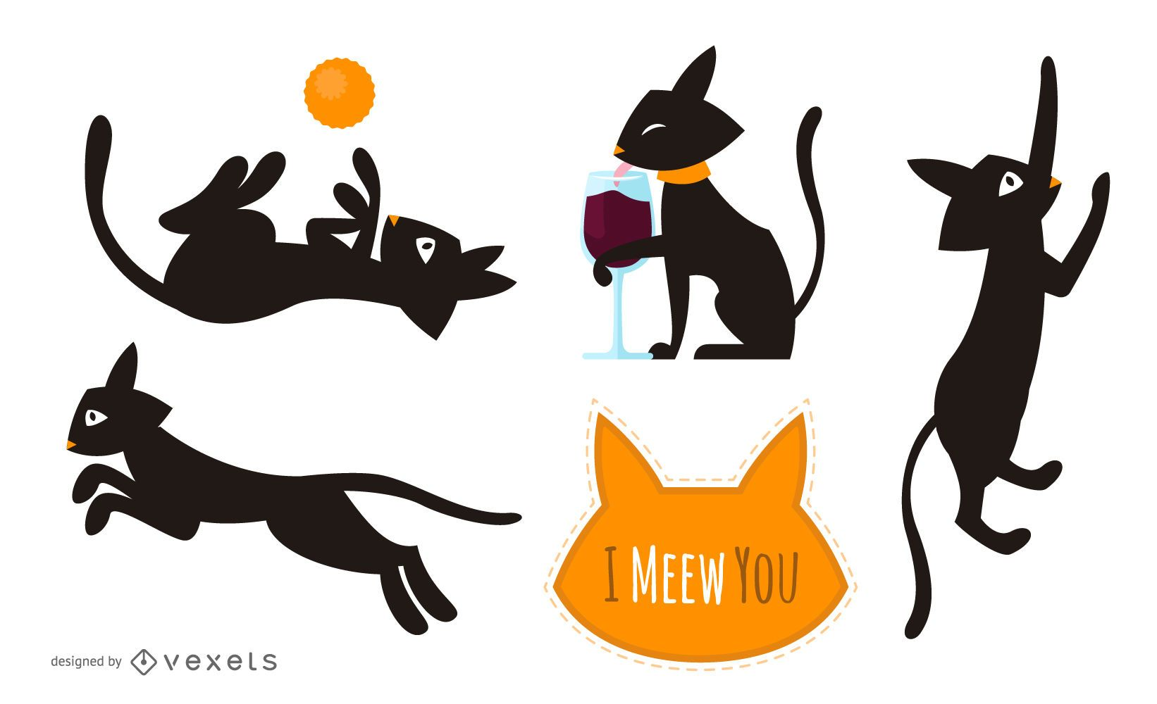 Set of illustrated black cats