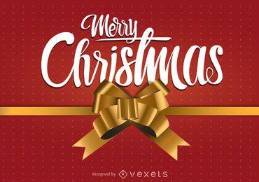 Diseño de feliz navidad con lazo de regalo.