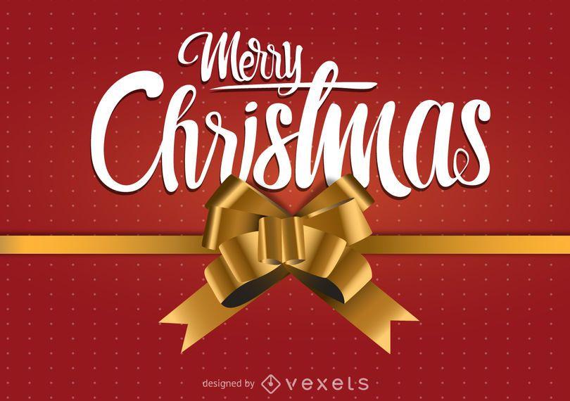 Diseño de feliz Navidad con lazo de regalo