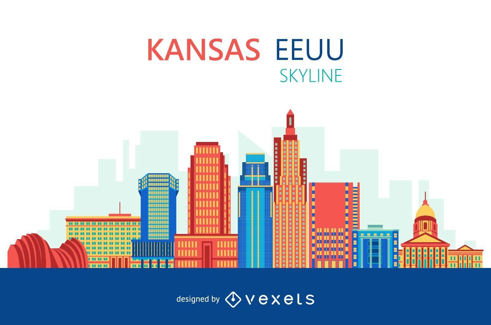 Colorful Kansas skyline