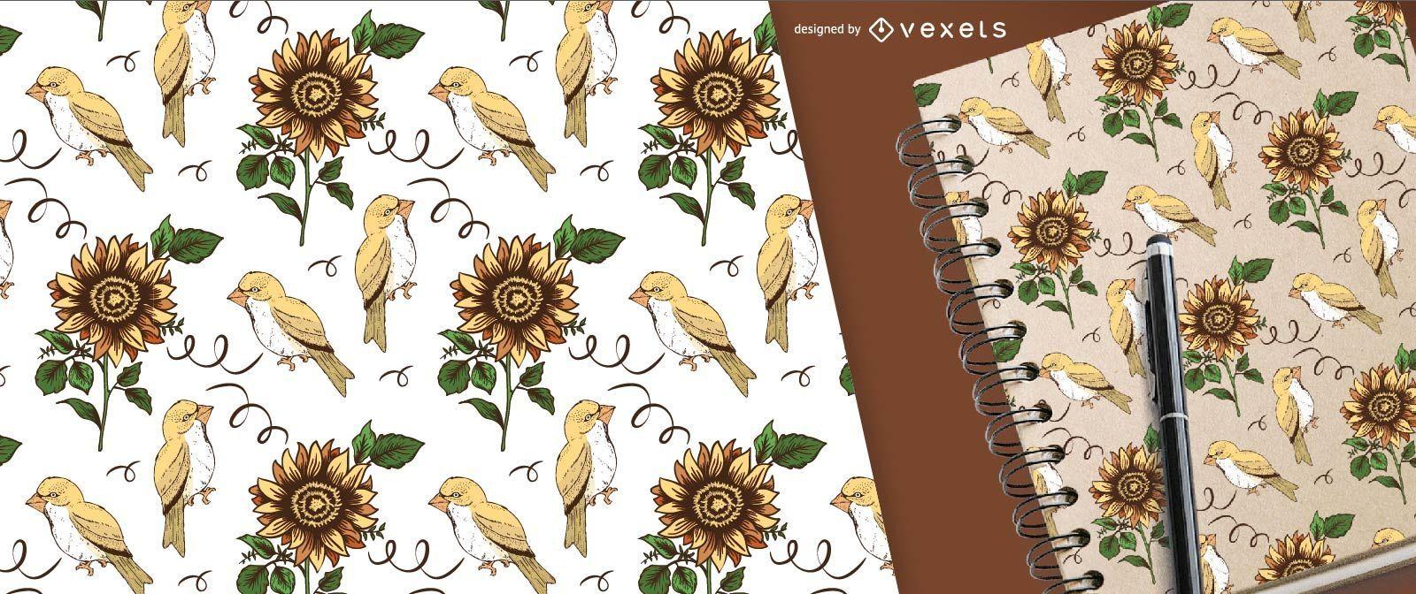 Sunflower and bird pattern for merchandise