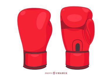 Ilustración aislada de los guantes de boxeo