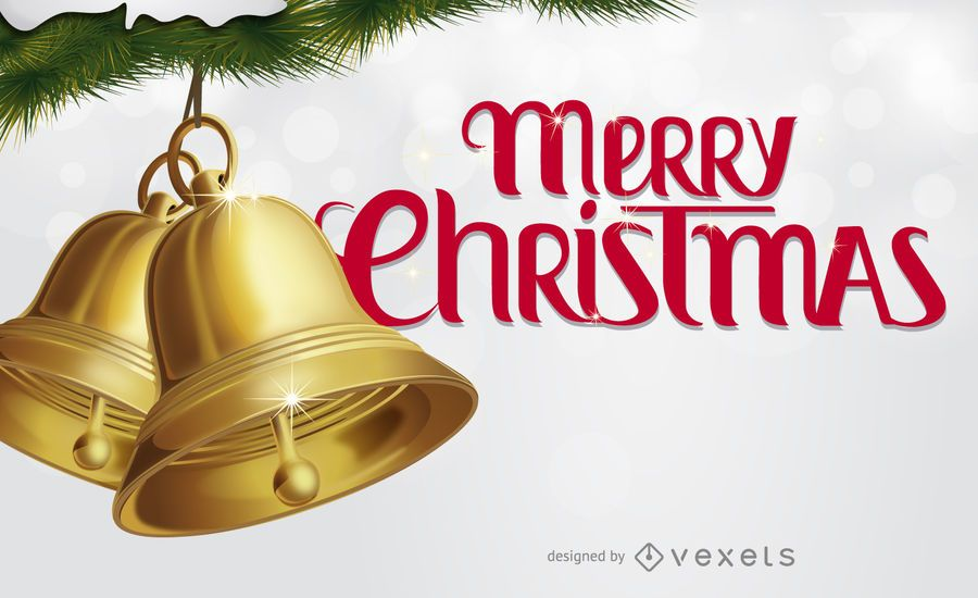 Merry Christmas card with bells