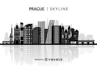 Silueta de Praga horizonte