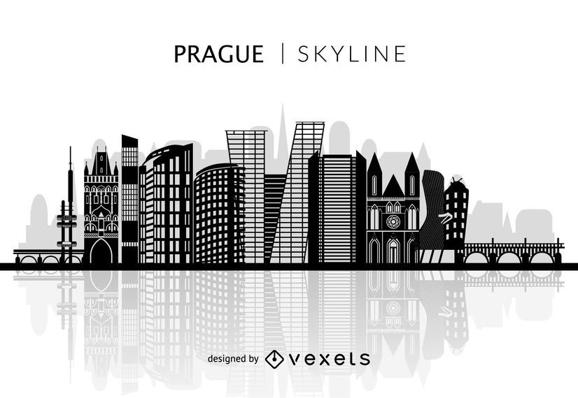 Prague silhouette skyline