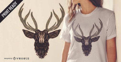 Diseño ilustrado de camiseta de ciervo.