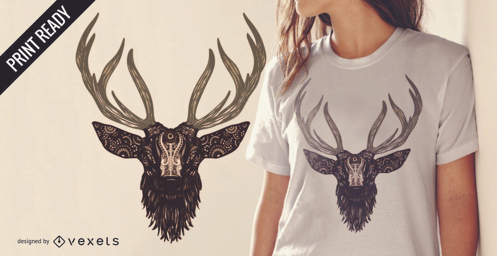 Dise?o ilustrado de camiseta de ciervo.