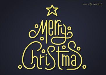 Letras de árvore de Natal moderna