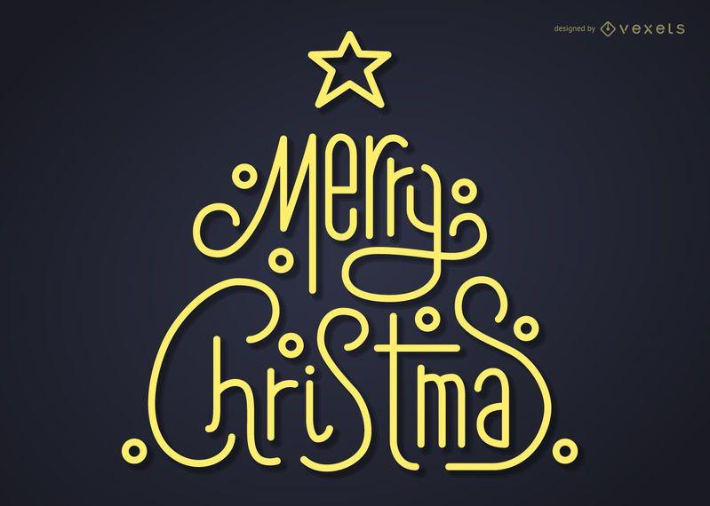Modern Christmas tree lettering