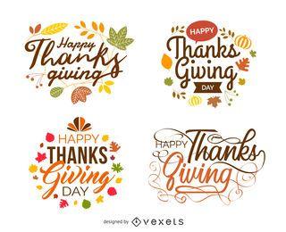 Etiquetas de festivo de Ação de Graças isoladas