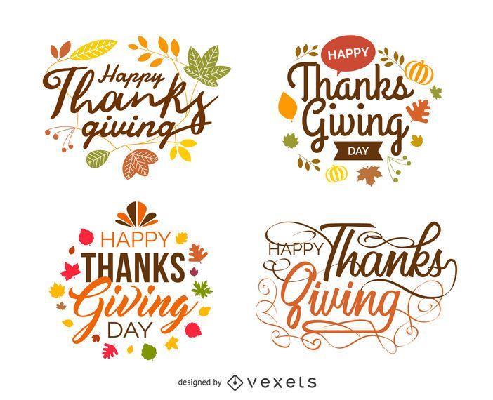 Rótulos festivos isolados de ação de Graças
