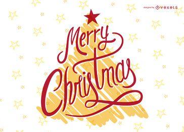 Festiva rotulação de Natal sobre a árvore