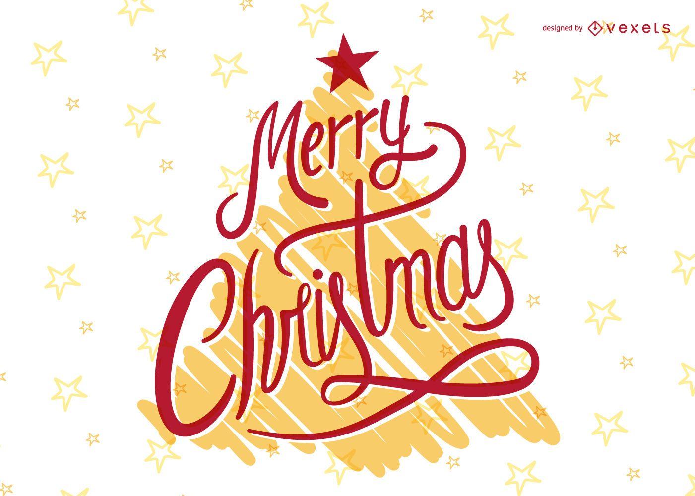 Festive Christmas lettering over tree