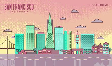 Colorido horizonte de trazo de San Francisco