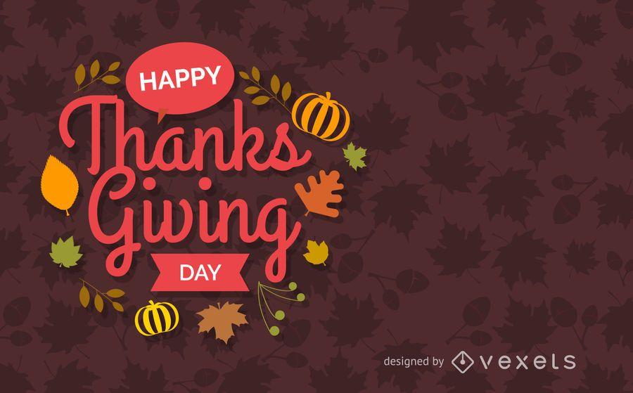 Flat Thanksgiving greeting card
