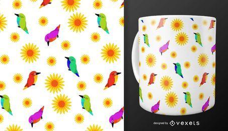 Blumen und Vögel Muster