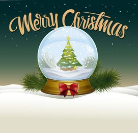 Ilustração de bola de neve de Natal