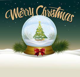 Ilustración de bola de nieve de Navidad
