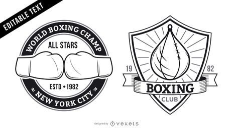 Boxing gym logo set