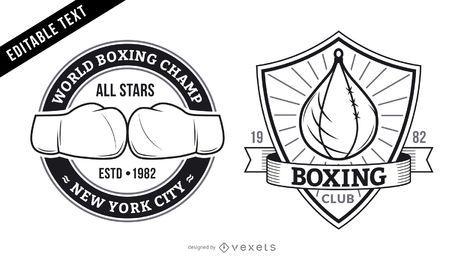 Conjunto de logotipo de academia de boxe