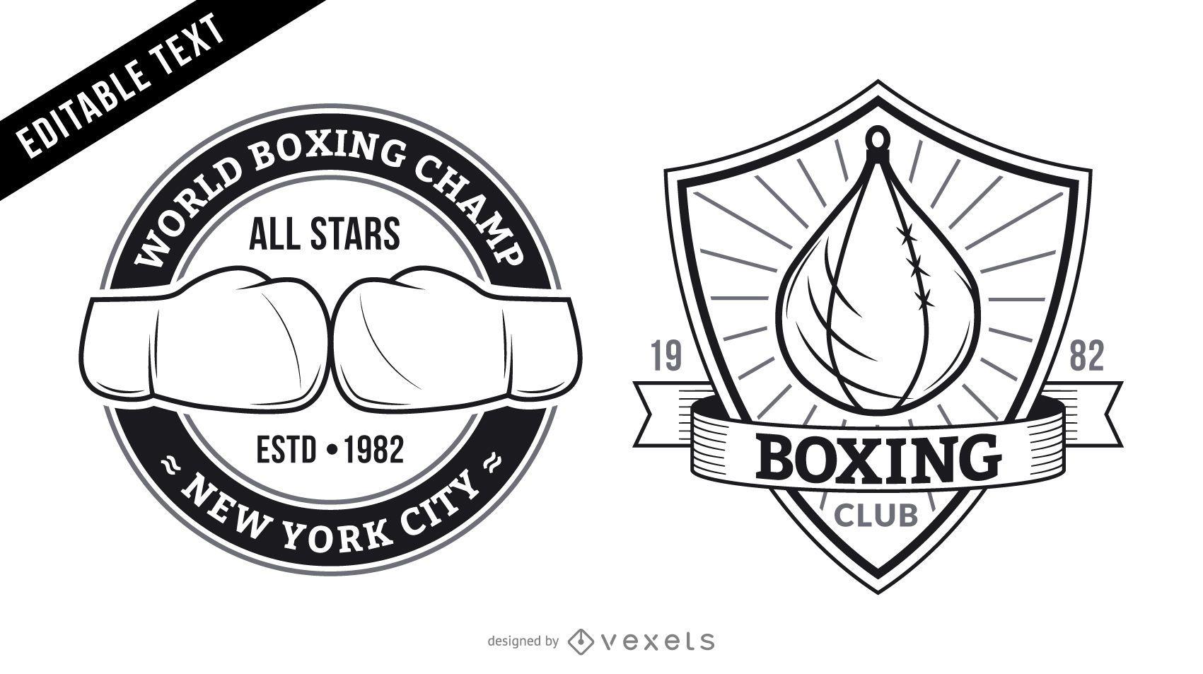 Boxing gym logo set