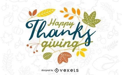 Banner colorido de ação de Graças