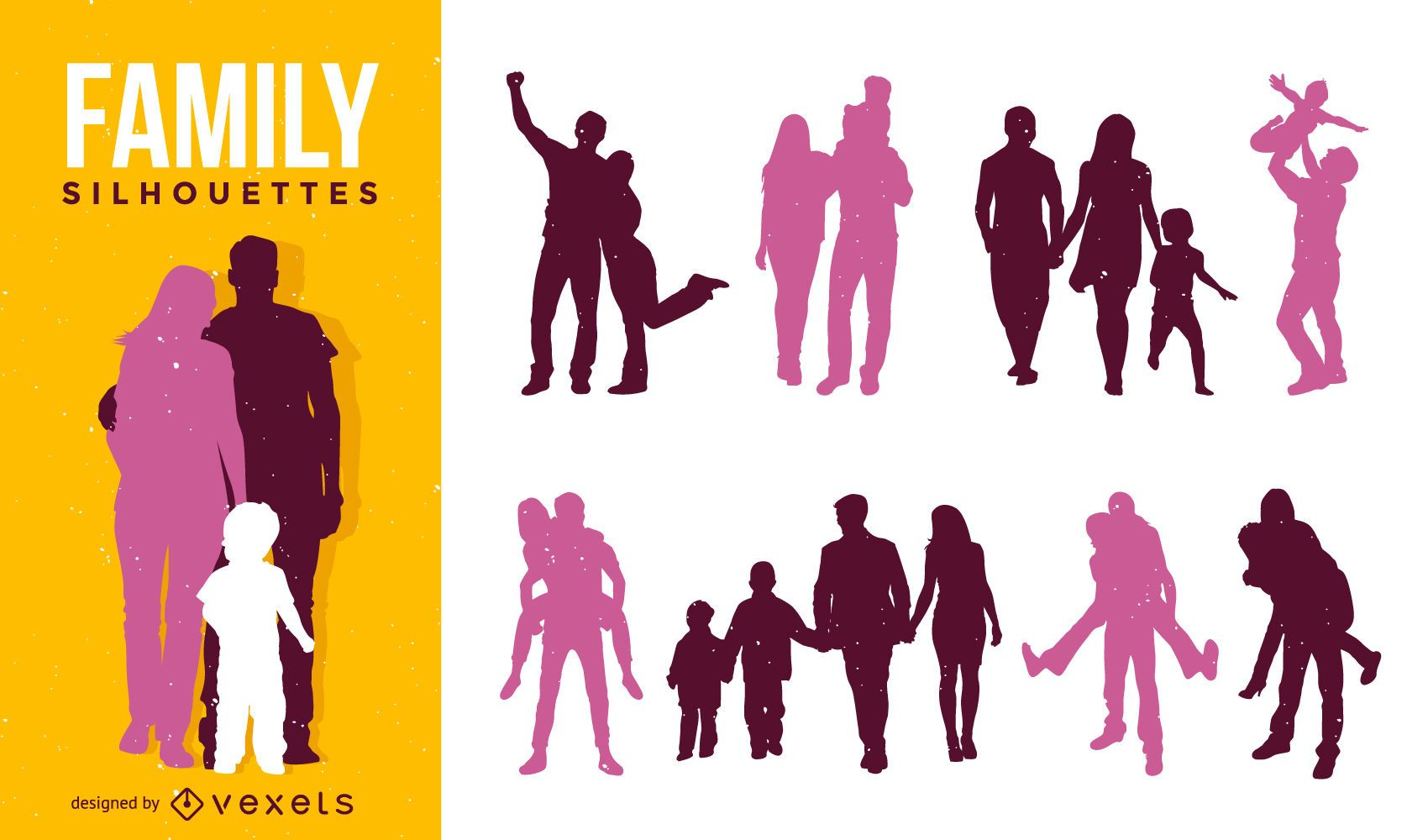 Family silhouette set