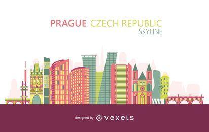 Colorful Prague skyline