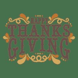 Feliz emblema de ação de graças