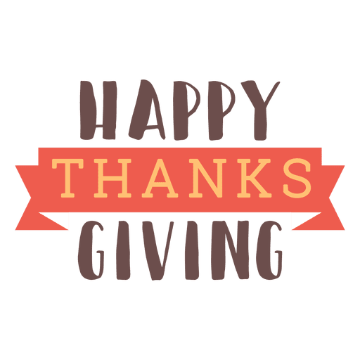 Happy thanksgiving ribbon badge Transparent PNG
