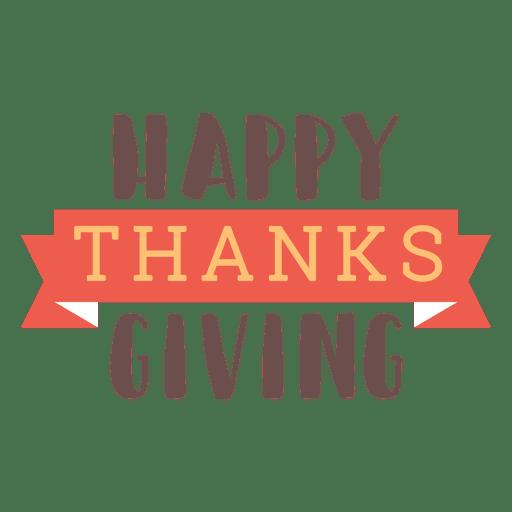 Insignia feliz de la cinta de acción de gracias Transparent PNG