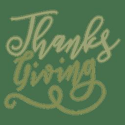 Insignia de texto manuscrito de acción de gracias