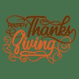 Día de Acción de Gracias texto manuscrito logotipo