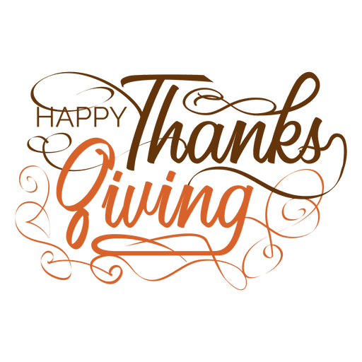 Thanksgiving handwritten text logo Transparent PNG