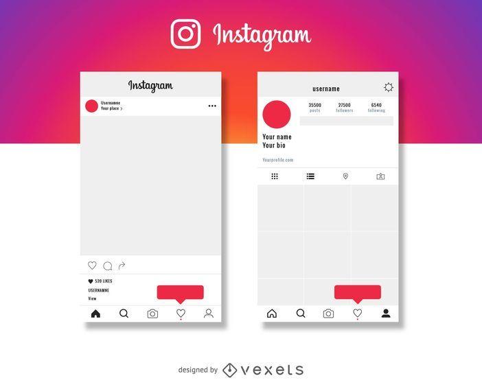 Instagram Post Y Maqueta De Perfil - Descargar Vector