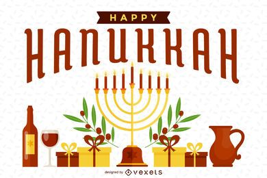 Bright Hanukkah illustration