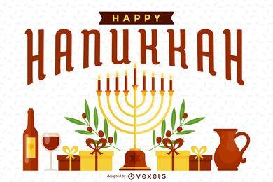 Ilustração brilhante de Hanukkah