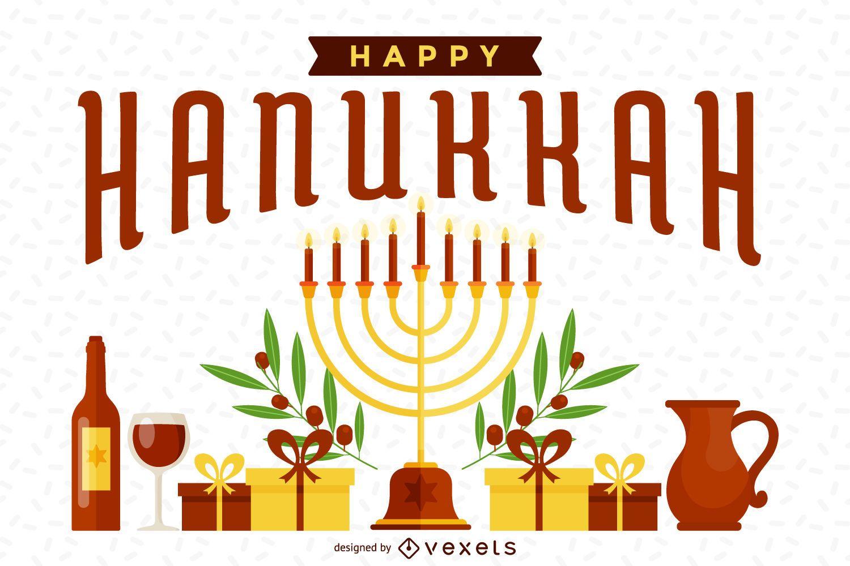 Bright Hanukkah illustration