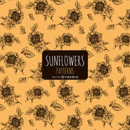 Hand gezeichnetes Sonnenblumenmuster