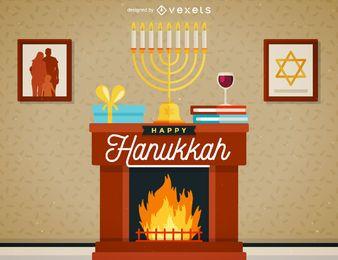 Ilustração da cena de Hanukkah