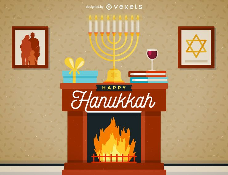 Hanukkah scene illustration
